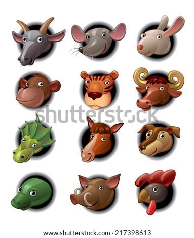 Chinese Zodiac Signs Horoscope - stock vector