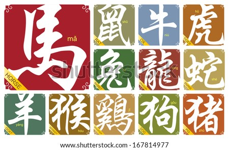 Chinese zodiac signs with the year of horse - stock vector