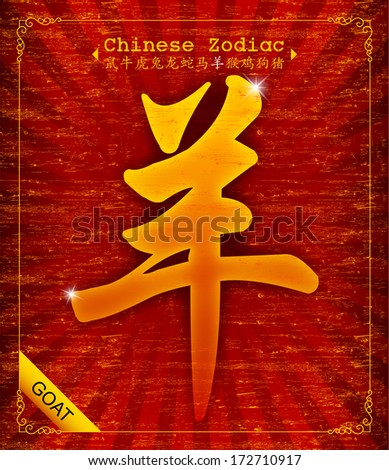 Chinese Zodiac - Year of the Goat in 2015 - stock vector