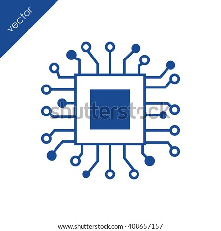 Chip icon. Electronic circuit icon. - stock vector