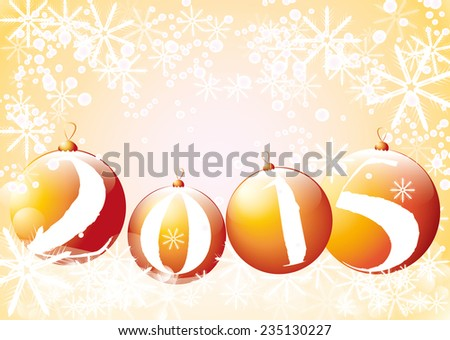 chirstmas baubles with greetings for the new year 2015 - stock vector