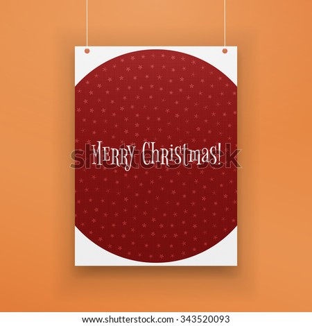 Chistmas paper red Page with Snowflakes hanging against orange Background. Realistic vector Holiday Poster Mockup - stock vector