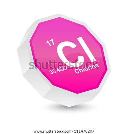 chlorine button - stock vector