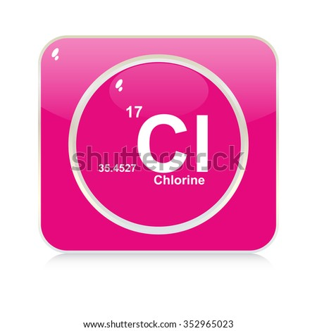 chlorine chemical element button - stock vector