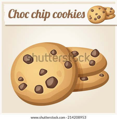Choc chip cookies. Detailed Vector Icon. Series of food and drink and ingredients for cooking. - stock vector