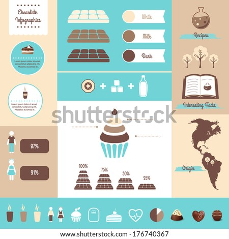 Chocolate And Food Infographics Design Elements - stock vector