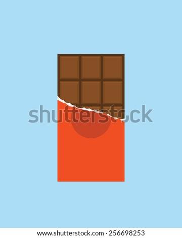 Chocolate bar icon, modern minimal flat design style, vector illustration - stock vector