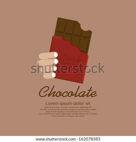 Chocolate Bar In Red Wrap Vector Illustration EPS10 - stock vector