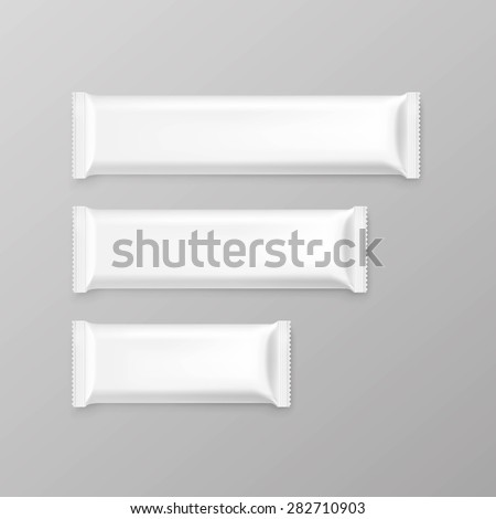 Chocolate bar package packaging blank white pack set isolated vector illustration - stock vector