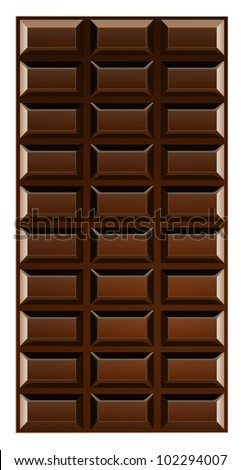 Chocolate bar vector illustration isolated on white background. - stock vector