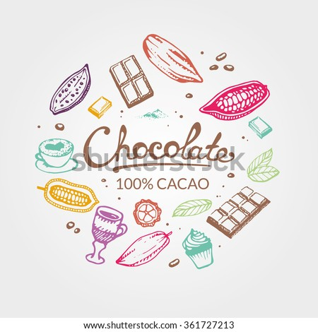 Chocolate cacao color. Hand drawing pattern of cacao beans, chocolate, cake, cup of hot chocolate, mug, latte. For menu and box design: shop, cafe, bar, restaurant, cooking, bakery. - stock vector