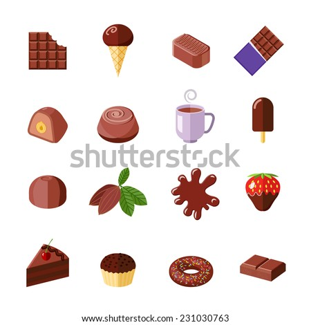 Chocolate candies cakes muffin and donut flat icons set isolated vector illustration - stock vector