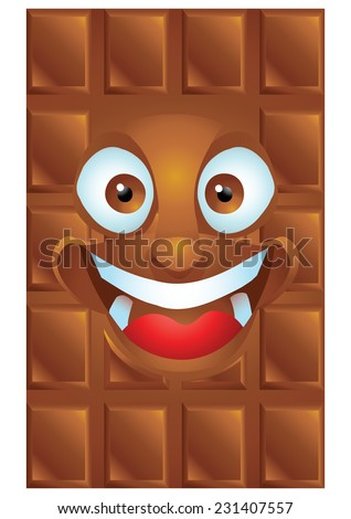 Chocolate cartoon character laughing isolated - stock vector