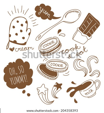chocolate cookie and milk doodle - stock vector