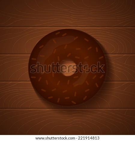 Chocolate donut on wooden background - stock vector
