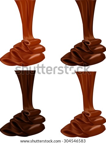 Chocolate flow. Vector illustration of melting chocolate. Chocolate drop. Abstract chocolate background. - stock vector