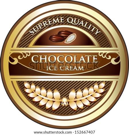 Chocolate Ice Cream Vintage Label - stock vector