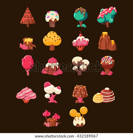Chocolate Landscape Elements Set On Black Background. Fairy Tale Chocolate Land Landscape Design Elements. Cute Vector Flash Game Candy Land Design. - stock vector