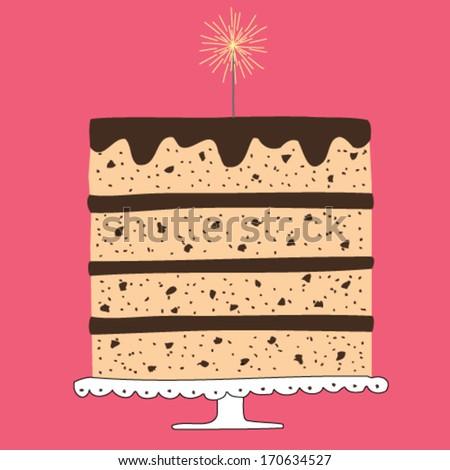 chocolate layered cake - stock vector