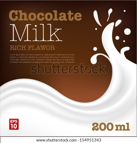 Chocolate milk wave with splash - stock vector