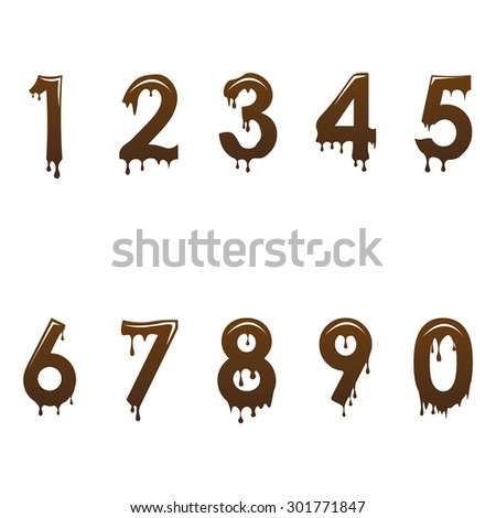 Chocolate numbers font - stock vector