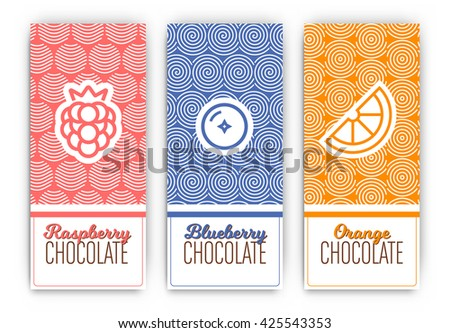 Chocolate Packaging Set - Collection of vertical designs of raspberry, blueberry, and orange flavoured chocolate bars - mono line style pattern and icon designs - stock vector