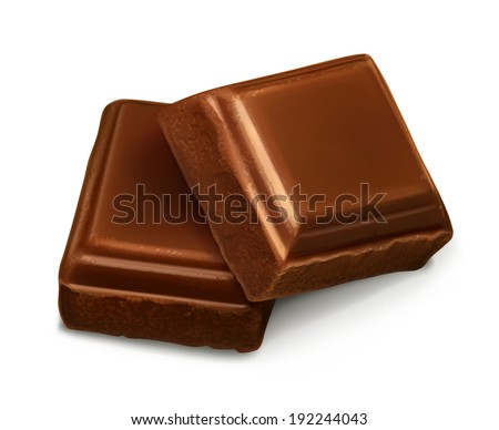 Chocolate pieces, vector illustration - stock vector