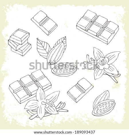 Chocolate retro set. Vector illustration. - stock vector