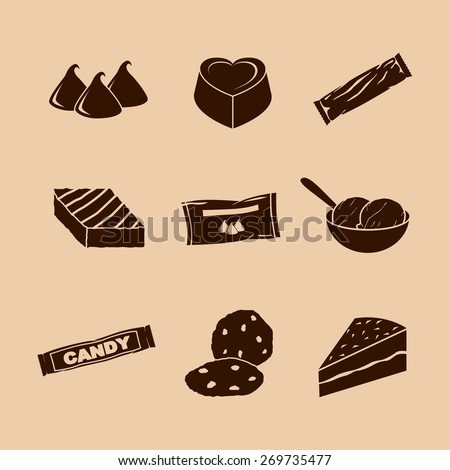 chocolate symbols set - stock vector