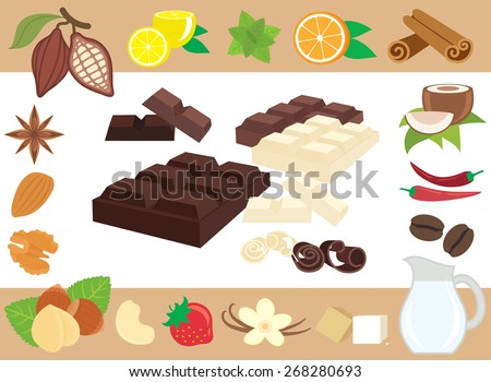 Chocolate tastes A collection of vector design elements on chocolate thematic.  - stock vector