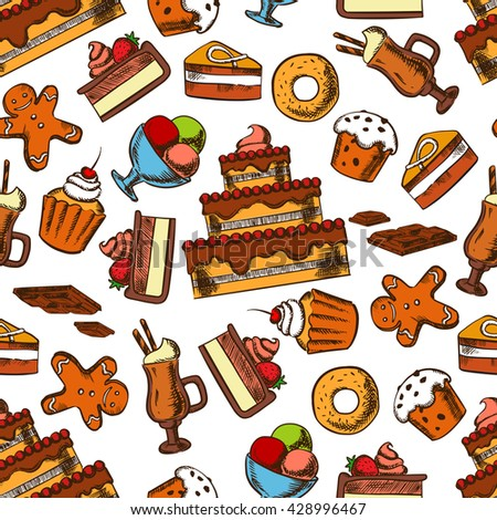 Chocolate treats seamless pattern with fruits and cream, glazed raisin muffins and donuts, sundae ice cream and irish coffee, gingerbread men cookies and chocolate bars - stock vector