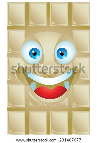 Chocolate vanilla cartoon character laughing isolated - stock vector