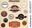Chocolate Vector Badges With Text - stock vector