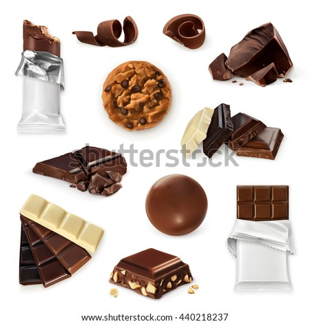 Chocolate, vector icon set. Different kinds of cacao products: energy bar, candy,  pieces, slices, shavings, cookie - stock vector