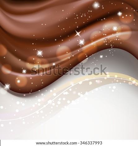 chocolate wavy background with sparkles and bokeh light effects. vector - stock vector