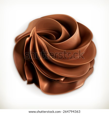 Chocolate whipped cream, vector icon - stock vector