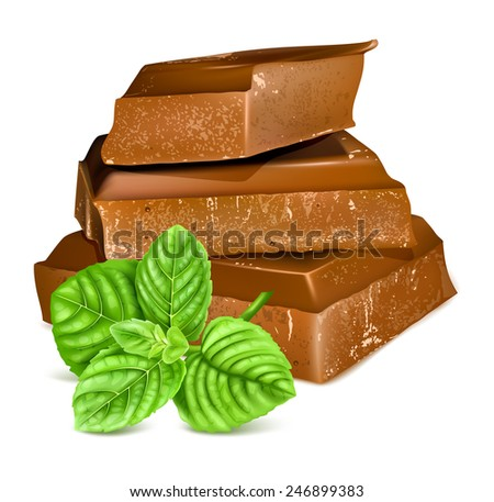 Chocolate with fresh mint. Vector illustration. - stock vector