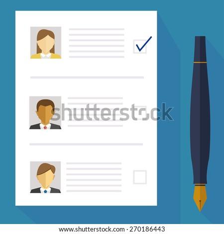 choice / pen and sheet / vector / illustration  - stock vector
