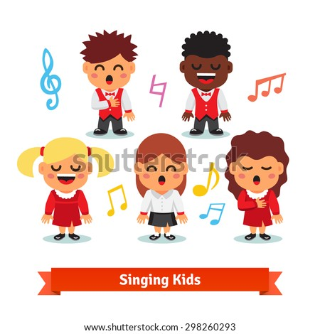 Choir of kids singing. Boys and girls happy children quintet. Flat vector cartoon illustration isolated on white background. - stock vector