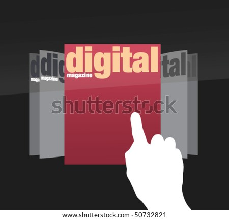 choosing edition of digital magazine on touch screen in vectors - stock vector