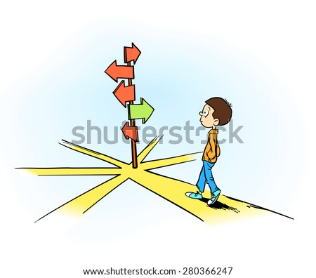 choosing right or wrong way! a young man making decision for the future - stock vector