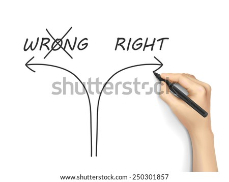 choosing the right way instead of the wrong one on white background - stock vector