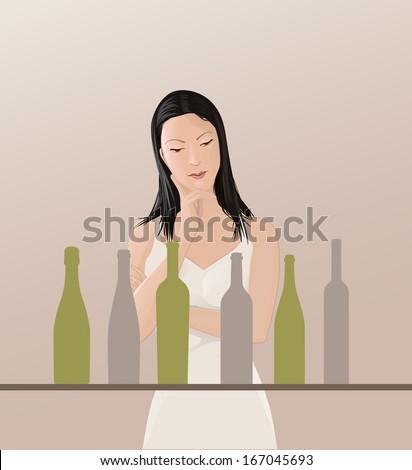 Choosing Wine Concept - stock vector