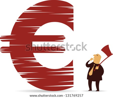 Chopped down Euro sign - stock vector
