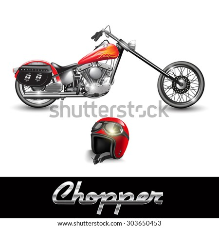 Chopper motorcycle and helmet with goggles. Vector illustration - stock vector