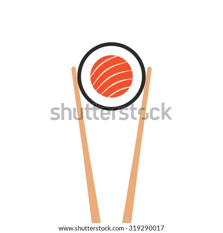 chopsticks holding sushi roll. concept of snack, susi, exotic nutrition, sushi restaurant, sea food. isolated on white background. flat style trend modern logotype design vector illustration - stock vector