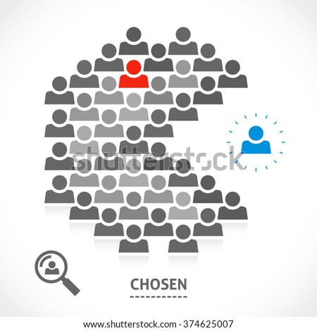 Chosen one is ready to became a part of team. Talented person for awesome community. From the other side it could be a fighter against a system. - stock vector
