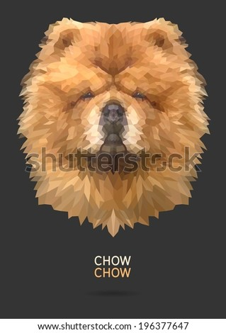 Chow Chow vector polygon geometric - stock vector