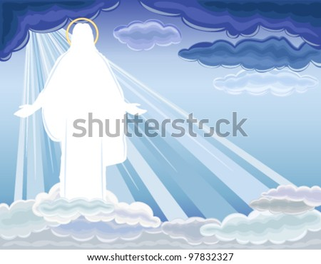 Christ is Risen - The Resurrection of Jesus Christ bringing salvation to humanity. Vector illustration saved as EPS AI8, all elements layered, no effects, easy edit and print. - stock vector