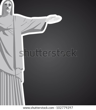 christ redeemer with space for copy over black background. vector - stock vector
